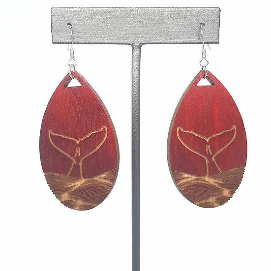 Red Whale Tale Wood Earrings