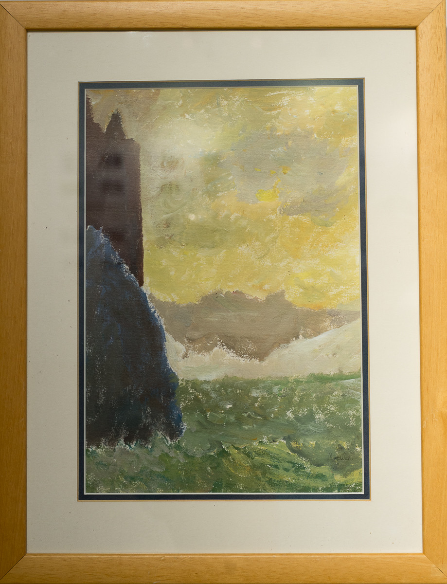 painting of sunny but stormy sea and cliffs with castle on the edge