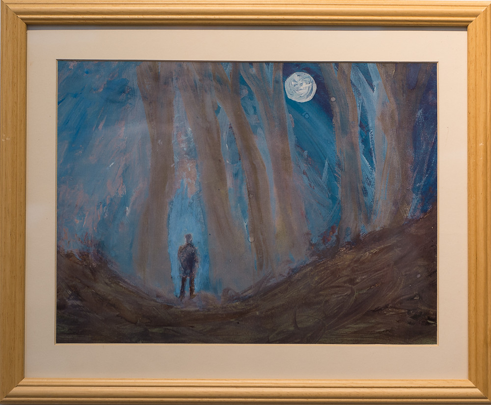 painting of a man standing in dark forest under full moon