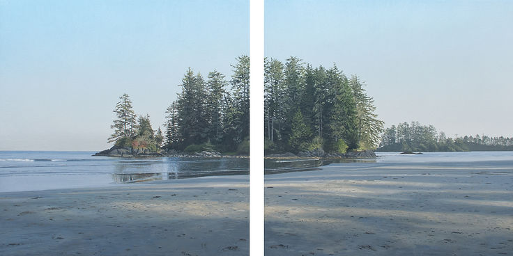 """Long Beach, Long Shadows"", 2019, acrylic on canvas on board, 23.75 x 46 inches, diptych"