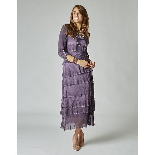 Long Layered Italian Silk Dress w/ Sleeves