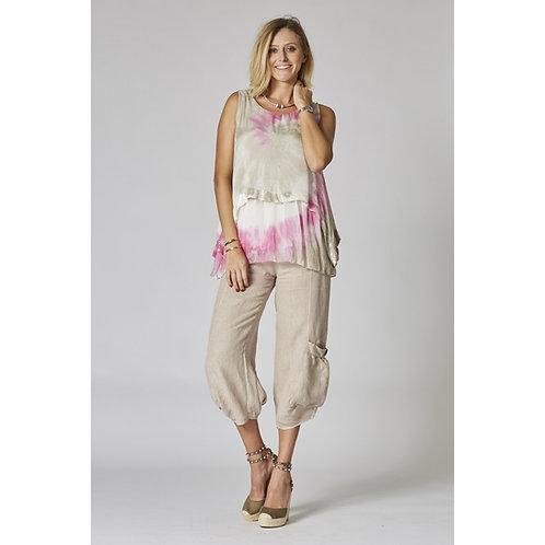 Holly Sleevles Tie-Dye Silk Top