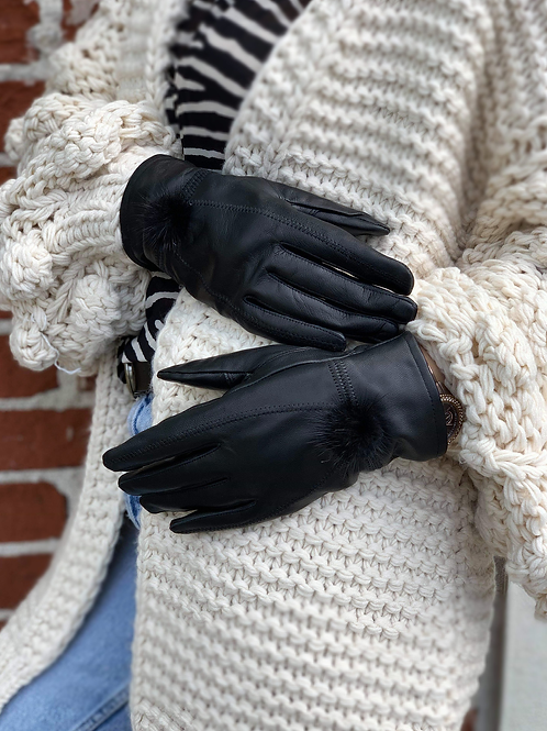 Pom-pom Delux Leather Glove