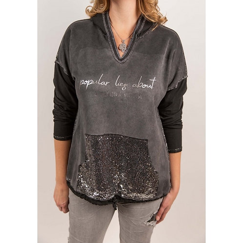 Hoodie with sequin pocket in front