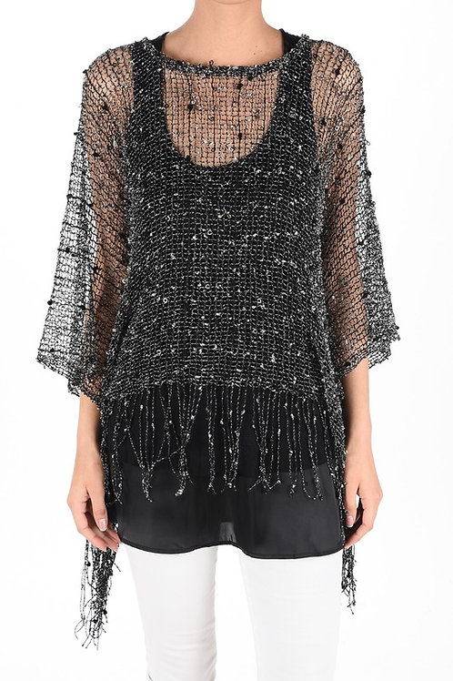 Sally Fringe Trimmed Nubby Crocheted Poncho