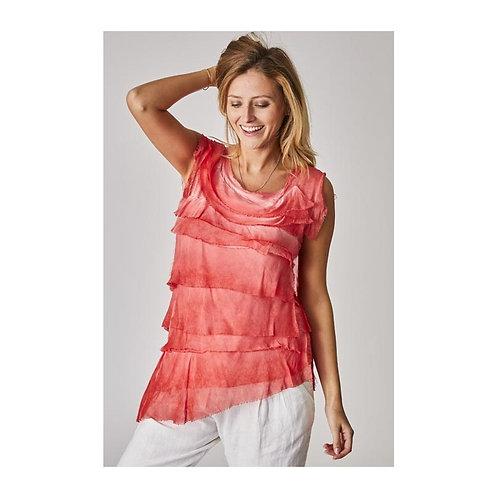 Leila Layered Silk Asymmetrical Top