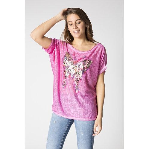 Butterfly on Canvas Linen T-Shirt
