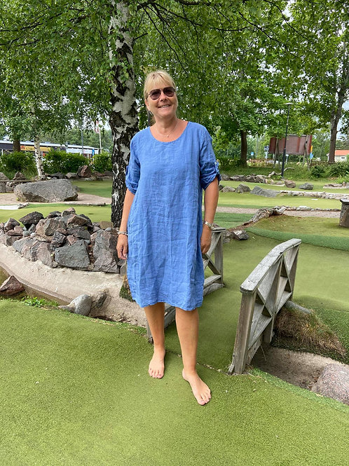 IDA Linneklänning Jeansblå