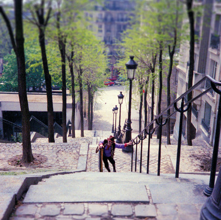 Long staircase to Sacre Coeur in Paris