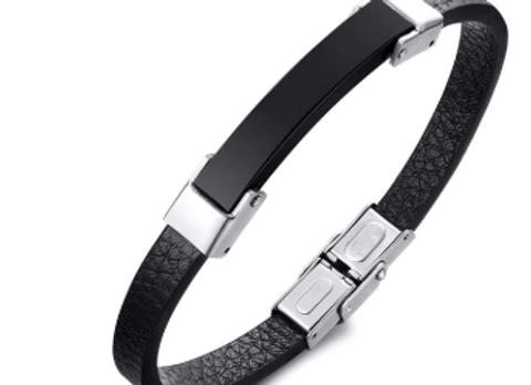 Leder Armband mit Gravur Platte