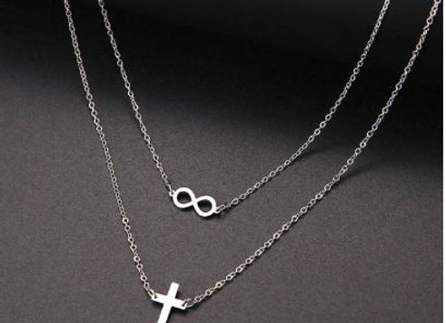 Doppel Kette - Infinity Kreuz