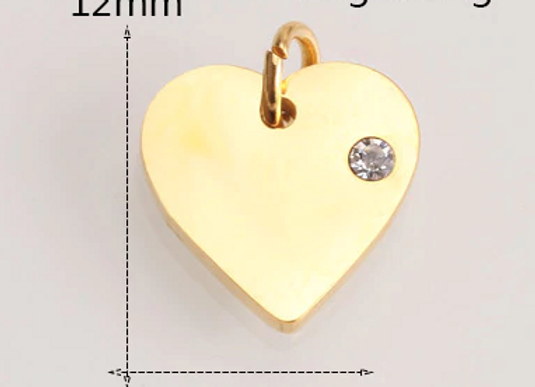 Edelstahl Herz Platte mit Stein und Kette