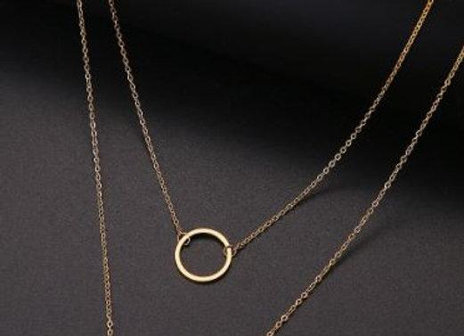 Doppel Kette - Ring und platte - silber