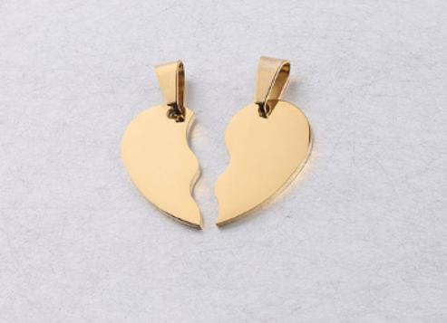 Edelstahl doppel-Herz mit Kette
