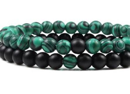 Natürliche Steine grün - schwarz
