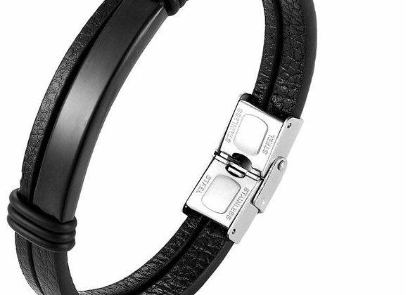 Leder Armband mit schwarzer Edelstahl Platte