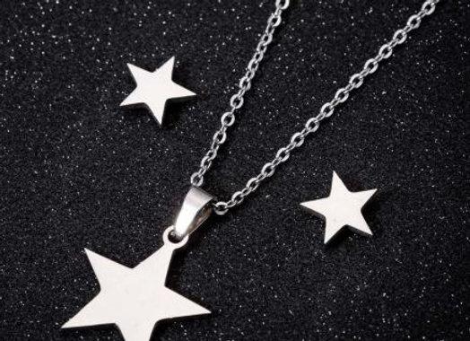 Edelstahl Set - Star - silber