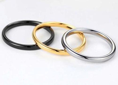 Edelstahl Ring gerundet 2mm - silber