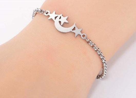 "Edelstahl Armband ""Stern Mond"""