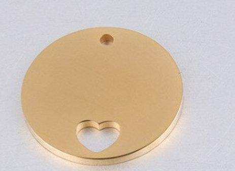 Runde Platte mit Herz und Kette