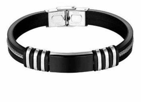 Silikon Armband mit Schwarzem Edelstahl Elementen