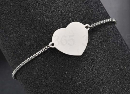 Edelstahl Herz Platte Armbändchen - Silber