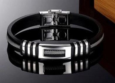 Silikon Armband mit Edelstahl Elemente