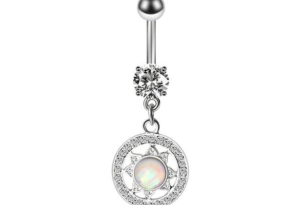 Round Sun Opal mit Stein