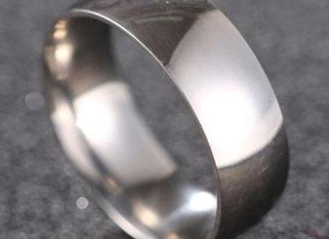 Edelstahl Ring gerundet 8mm - Silber