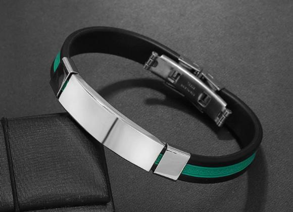 Silikon Armband mit Titan Edelstahl Platte