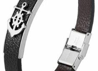 Leder Armband Anker Silber