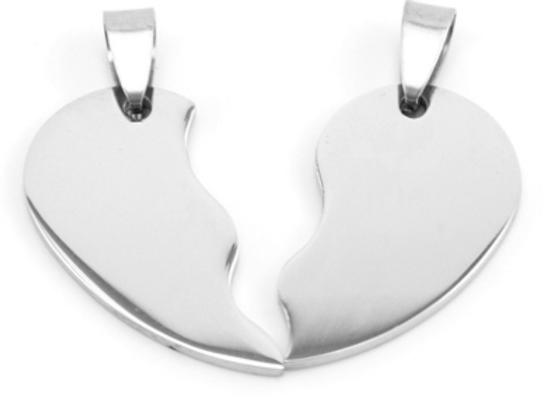 Paar - Edelstahl doppel Herz mit Ketten