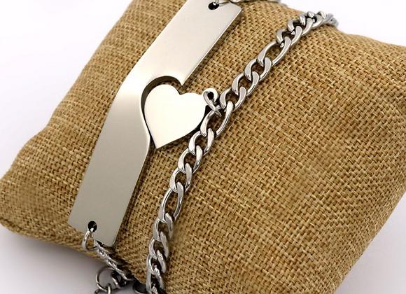 Set Edelstahl Armband und Herz Kette