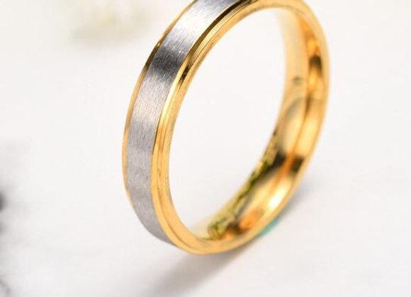 Edelstahl Ring - Silber Gold