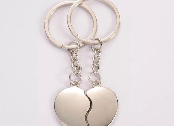 Edelstahl doppel HerzSchlüsselanhänger