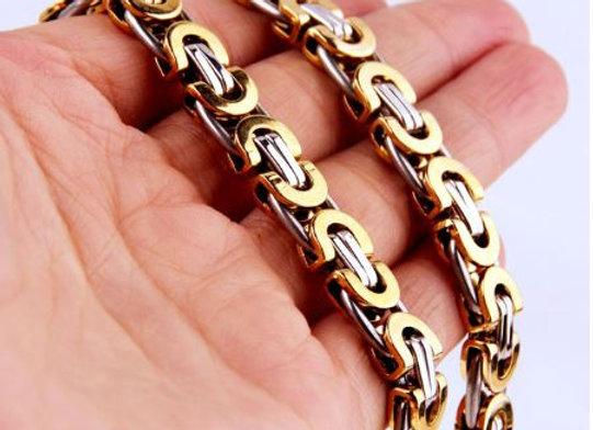 Flache König Kette - silber gold - 8mm