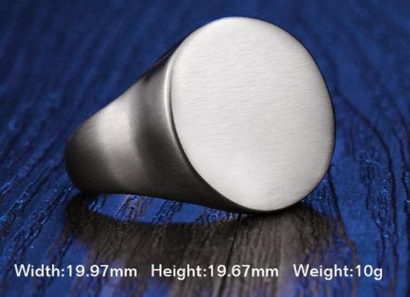 Edelstahl Siegelring silber rund