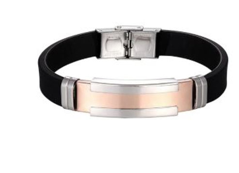 Armband aus Silikon mit Rose Gold & Silber Platte
