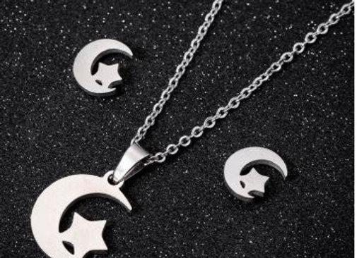 Edelstahl Set - Mond und Stern - silber