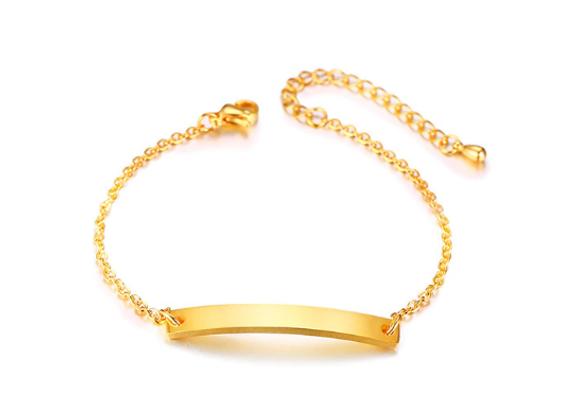 Edelstahl Armband mit Platten 5 mm breit - gold