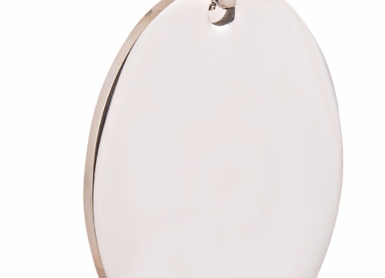 Ovale edelstahl Platte mit Kette