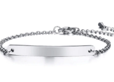 Edelstahl Armband mit Platten 5 mm breit - silber