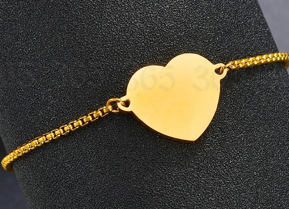 Kopie von Edelstahl Herz Platte Armbändchen - Gold