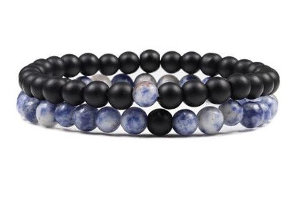 Natur Steine - Blue White Stone - Matt Schwarz