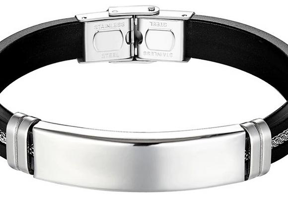 Silikon Armband mit Edelstahl Platte