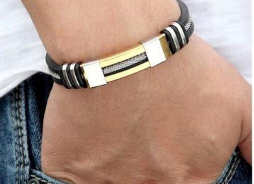 Silikon Armband mit Silber Gold Edelstahl Elementen