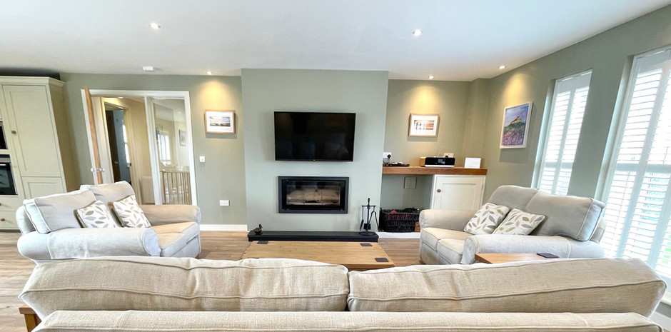 Log Burner and large TV focal points in the Living area