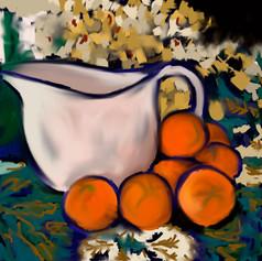 White Pot with Mandarins