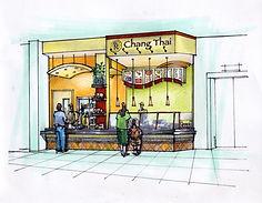 Chang Thai restaurant store front drawing - Jennifer Kretschmer Architect