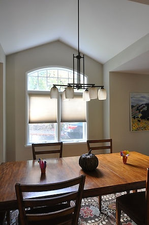 Kitchen dining room table with light fixture - Jennifer Kretschmer Architect